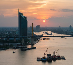 Sunset Time (Weerakarn) Tags: city sunset sky river landscape boat cityscape chaophraya kbank ramaixbridge   weerakarn