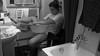 attese domestiche (Maieutica) Tags: portrait bw girl waiting toilet toilette bn wc bagno ritratto ragazza bucato vasca aspettare lavatrice lavandino