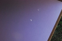 Solar eclipse, more than 1 pinhole! (wbaiv) Tags: blue sky beauty digital photography solar eclipse nikon purple natural box skylight noflash pinhole crescent astronomy 55200 bankers f4556 d40x