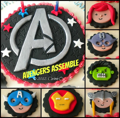 Avengers cake topper collage
