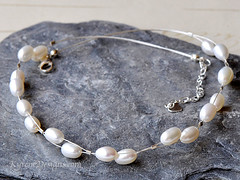 Handmade pearl necklace - Ingrid (KyreneD) Tags: wedding silver necklace handmade jewelry pearls jewellery romantic wired bridal delicate freshwater cultured highgrade