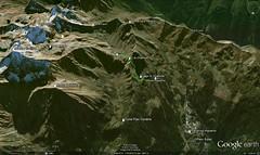 Google Earth 3D (vista N) (Emanuele Lotti) Tags: italy mountain alps montagne trekking lago italia 7 valle 2006 val gps alpi aosta monti rifugio gruppo pila luglio pegaso colle impianti escursionismo traccia daosta arbolle graie chamole
