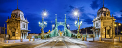 Puente de la Libertad (Budapest) (dleiva) Tags: city longexposure sky color horizontal architecture faro outdoors photography arquitectura farola streetlight hungary dusk budapest citylife ciudad nopeople movimiento illuminated cielo transportation headlight suspensionbridge connection onthemove taillight anochecer transporte fotografa hungra nadie puentecolgante iluminado airelibre exposicinlarga capitalcities enmovimiento traveldestinations colorimage conexin luztrasera builtstructure destinostursticos vidaenlaciudad puentedelalibertad ciudadescapitales estructuradeedificio budapesthungriahungarymotion libertybridgedleivadomingoleivahdrpanorama