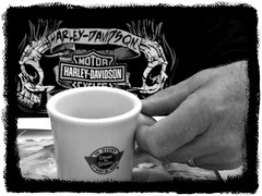 CUP OF JAVA (marsha*morningstar) Tags: blackandwhite cup coffee shirt hand joe cycle harleydavidson mug steaknshake javo