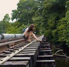 The Modern Runaway (Cath O'Connolly) Tags: railroad bridge girl modern train river woods warm escape tracks railway class rusted fancy wealthy runaway tones