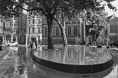 (The New Motive Power) Tags: street city trees urban blackandwhite sculpture reflection london art water fountain pool architecture hotel still quiet silence installation ripples shallow mayfair feature tadaoando ando connaught canon7d