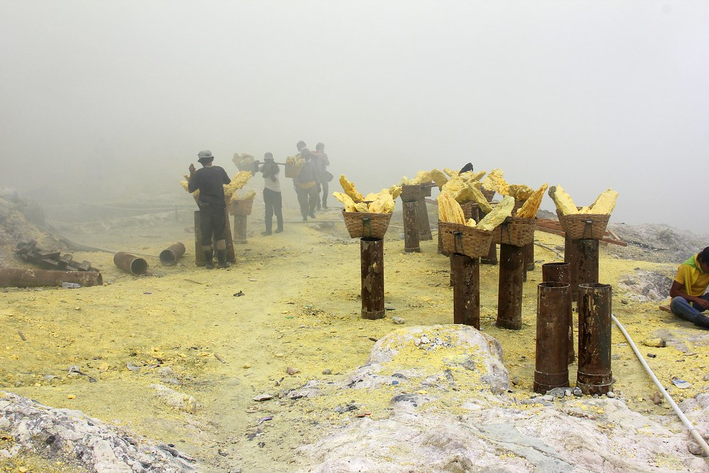 Sulphur and steam, Kawah Ijen, East Java, Indonesia