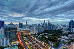 Moody Skies over Chidlom | Bangkok (I Prahin | www.southeastasia-images.com) Tags: city station thailand lights traffic dusk bangkok fusion skytrain hdr britishembassy bts ploenchit sukhumvit chitlom centralchidlom ramairoad centralchitlom centralretail