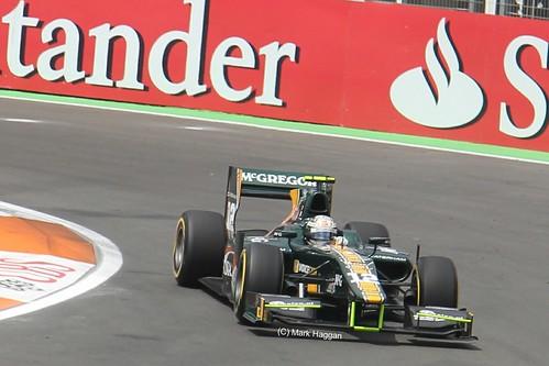 Giedo Van Der Garde in his Ocean Racing Technology GP2 car at the 2012 European Grand Prix in Valencia