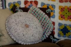 Pretty Petals Pillow (MossyOwls) Tags: petals handmade crochet pillow round button cushion throwpillow prettypetals aranfleck