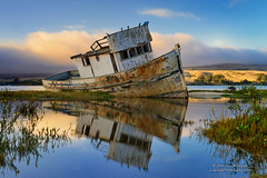 Dream Boat - Point Reyes Shipwreck (Darvin Atkeson) Tags: sanfrancisco california old sunset reflection golden bay boat fishing gate san francisco decay shipwreck area bayarea pointreyes recreation sir inverness tomales francisdrake darvin atkeson darv liquidmoonlightcom lynneal
