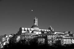 Moon over Duomo BW (gcquinn) Tags: sunset moon geoff quinn siena duomo geoffrey abigfave