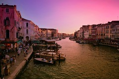 Pinky sunset colors along the Grand Canal of Venezia (Bn) Tags: world life voyage street city trip travel bridge pink venice houses windows light sunset red sea summer people italy music orange sun color reflection heritage history water beauty weather yellow river boats island mirror islands canal site italian ancient colorful warm europe italia day ride taxi shoreline shift pedestrian grand tourist taxis canals unesco ponte clear explore shade rowing gondola venetian richness venezia hue renaissance palaces rialto gondolier degli itali rosy scalzi veneti avondrood vaporetti