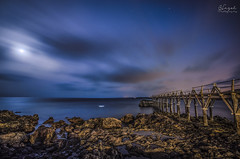 Moon (Hazel Rodrguez) Tags: ocean longexposure bridge sea sky moon night clouds stars puente noche nikon rocks sigma lanzarote luna estrellas 1020 canaryislands arrieta longexposition