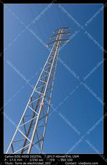 Electric pylon (__Viledevil__) Tags: blue cable construction electric electricity energy estacin framed line main beam march masts skeleton sky solitary confinement station structure tower transmission voltage volts wire sanfernando cdiz espaa
