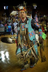 Dancer Turquoise Regalia copy (queenbeaphoto@att.net) Tags: bymelissafrybeasley dancerwithturquoiseregalia people nativeamerican iicotpowwowofchampions 2016 beadwork handsome fan feathers ndn tulsaoklahomaphotographers mocs roach