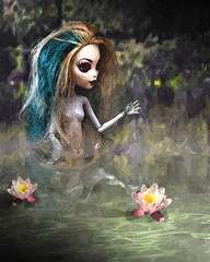 lagoona blue in water colours (Allan Saw) Tags: lagoonablue monsterhigh doll toy portrait paint river swim lily flower manipulation