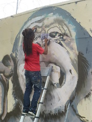 Kouka : cration en cours (samedi 20 aot 2016) (Archi & Philou) Tags: kouka travailencours wip workinprogress streetart singe monkey chimpanz chelle ladder rueordener