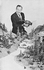 Walt Disney and a scale model of the new Nature's Wonderland, 1960 (Tom Simpson) Tags: vacationland vintage 1960 1960s disney vintagedisney disneyland waltdisney vintagewaltdisney minetrain minetrainthroughnatureswonderland