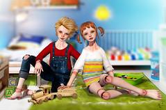 Siblings (meriluu17) Tags: kid kids child childs cute color play toy toys train room indoor people girl boy siblings coco