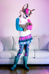 Cyberspace Leggings (Ice Foxx) Tags: 91e207427274e5 boots crossdressing cyberspaceleggings dustrial femboi femboy fox furry fursuit leggings partial rubberboots selfportrait skirt tights