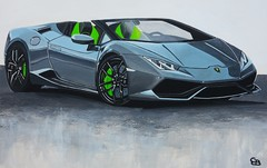 Painting of a grey Lamborghini Huracan Spyder (geertjandebont.nl) Tags: painting artwork artist lamborghini huracan spyder grey green sportwagen sportscar bestel acryllic acryl geertjandebontnl geertjandebontgmailcom wwwgeertjandebontcom italia paper sale commission
