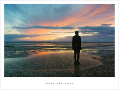 Warm and cool (Parallax Corporation) Tags: antonygormley anotherplace crosby ironmen merseyside seaside beach sunset reflections