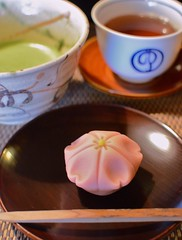 wagashi (snowshoe hare*(back and slowly catching up)) Tags: spring cafe kyoto   sweets sakura cherryblossoms greentea maccha wagashi     rapeflowers   tsuruyayoshinobu dsc6806 roastedtea traditionaljapanaeseconfections hohjicha
