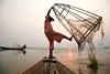 Fishing - Inle Lake, Myanmar (Maciej Dakowicz) Tags: sunset sea lake water work fishing fisherman asia southeastasia fishermen burma myanmar inlelake inle