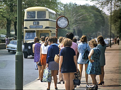 Queue for a  Birminham Standard (geoff7918) Tags: lamp 1967 miniskirts fordcortina edgbaston busqueue harbornerd bctstandard