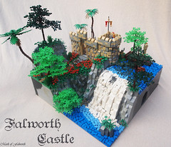 LCC-Loreos, Falworth Castle. (Main) (Mark of Falworth) Tags: mountain tree castle water waterfall lego forrest contest palm trade lcc moc loreos