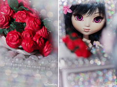 Sparkling Mirror (DoomKitty00) Tags: red roses mirror eyes doll bokeh wig groove pullip custom rinko obitsu doomkitty00