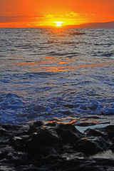 day's end (bluewavechris) Tags: ocean sea sky sun color water rock clouds island volcano hawaii lava eclipse surf scenic maui