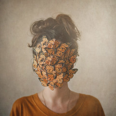 Orange, or the return of the lady with the butterflies (Ana Lusa Pinto [Luminous Photography]) Tags: portrait orange selfportrait texture face butterfly square hide series selfie luminousphotography luminouslu analusapinto