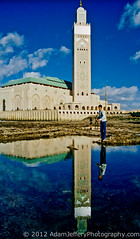 Hassan II Mosque (adamjefferyphotography) Tags: boy reflection water pool fishing muslim islam morocco casablanca islamic hassaniimosque