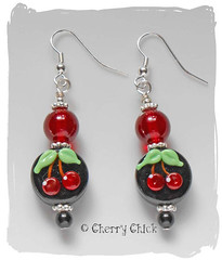 Black Cherry Lampwork Earring (Cherry Chick Jewelry) Tags: red artisanjewelry cherryearrings beadedearrings handcraftedjewelry lampworkearrings womensjewelry womensearrings cherrylampwork cherrychickjewelry