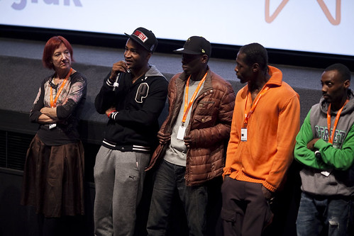 Penny Woolcock with the One Mile Away cast after an Education screening at Cineworld