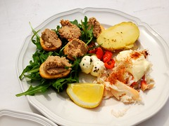 Crab claw lunch (tedesco57) Tags: from uk england salad lemon with little shell crab surrey potato half rocket cooked tuna paprika dressed epsom pate claws mayonnaise topped croutons removed