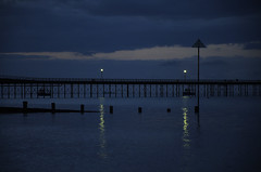 CAME A DAWN (DESPITE STRAIGHT LINES) Tags: morning light sea sky sun sunlight beach wet water night dawn coast pier se