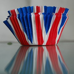 Patriotic fairy cake liners (Wider World) Tags: blue red white reflection paper unitedkingdom jubilee flag cupcake patriotism unionjack 2012