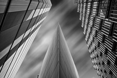 More Riverside; London. London Bridge. Looking up! (PeterChinnock) Tags: new bridge bw white black london architecture clouds long exposure riverside 10 fake blurred norman more foster development stopper nd110 peterchinnock