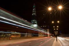 Light trails (Owlwithoutfeathers) Tags: longexposure bridge light bus london thames night londonbridge traffic paintingwithlight photomerge redsky shard morelondon