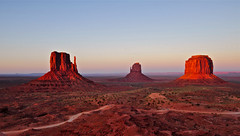 Evening light on The Mittens Monument Valley, Arizona....Explore  #198 (MarsW) Tags: sunset arizona usa cowboys indians navajoland monumentvalley wildwest theview johnwayne buttes forrestgump johnford themittens westernmovies navajotribalparkmesa ancestralpuebloanremains