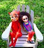 Just the two of us (DollyBeMine) Tags: summer cute eye love girl strange japan vintage toy outside outdoors japanese big stuffed eyes mod funny couple doll plush plastic devil romantic eyed 1960s cloth kamar dikkens kneehugger
