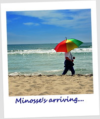 Walking with Minosse.... (Claudia Gaiotto) Tags: sea summer beach umbrella polaroid warm afa caldo vedoimostridalcaldooo