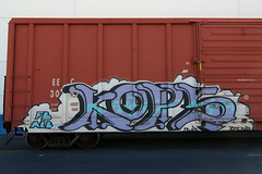 KOPS (TRUE 2 DEATH) Tags: railroad train graffiti fb tag graf trains railcar spraypaint alb railways railfan freight freighttrain rollingstock kops benching freighttraingraffiti