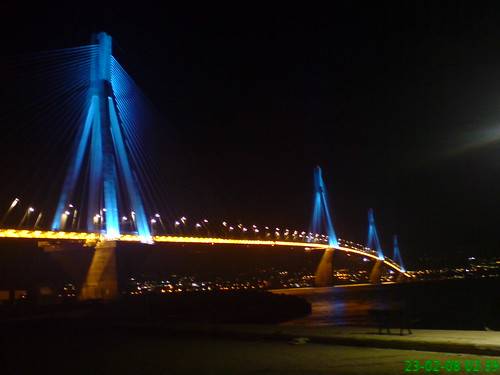 Rio–Antirrio bridge at night