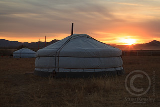 Mongolian Yurts in the Sunset
