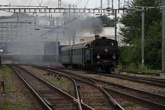 Dampfzug 30155 Zollikofen - Langnau  mit Dampflok / Dampflokomotive SMB Ec 4/5 11 bei der Durchfahrt im Bahnhof Oste