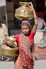 Lady Delivering Milk  _6668 (hkoons) Tags: india clothing asia dress central vessel bowl clothes pot pots copper gown bowls brass sari rajasthan saris bundi hadoti